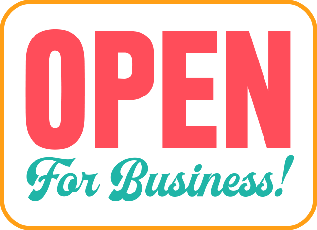 Open for business door sign